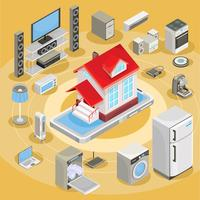 Vector isometrische illustratie smart home-apparatuur