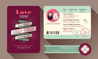 Cartão retro do convite do casamento do passaporte do visto