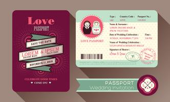 Retro Visa paspoort bruiloft uitnodigingskaart