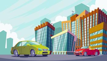 Paesaggio urbano con grandi edifici moderni e automobili