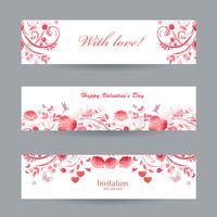 Coleção de banners românticos lindos