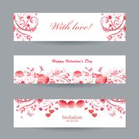 Collection of beautiful romantic banners