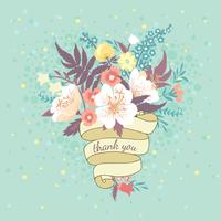 Bouquet of flowers and ribbon