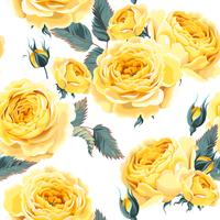 English yellow roses seamless pattern