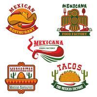 Mexicaans eten restaurant embleem decorontwerp