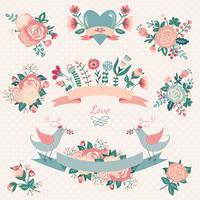 Blommig samling med designelement
