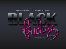 poster di venerdì nero con testo 3d e scritte a mano