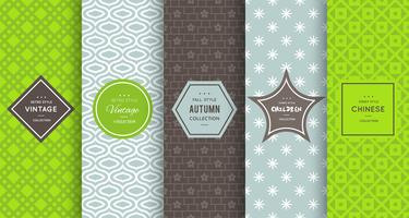 Retro green seamless patterns