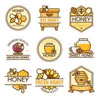 conjunto de design de rótulos de mel