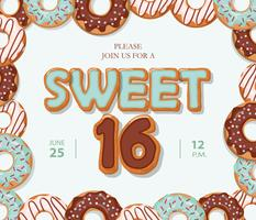 Zoete 16 verjaardagskaart. Cartoon hand getekende letters en donut frame op pastel blauw. vector