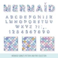 Mermaid font and seamless patterns set for birthday cards, posters vector