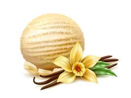 boule de crème glacée réaliste 3d fleur de vanille