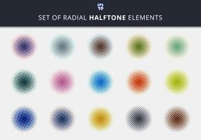 Set of abstract halftone radial elements