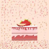 Rebanada de pastel de cumpleaños sobre fondo rosa