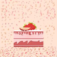 Birthday cake slice on pink background