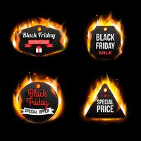 Black Friday Sale fuego insignias y etiquetas