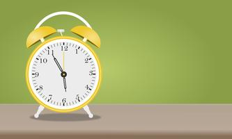 Cartoon alarm clock isolated on green background