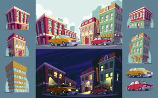 Conjunto de ilustración de la zona urbana histórica