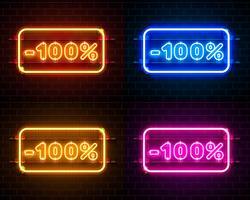 Ensemble de bannière de texte Neon 100