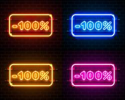 Neon 100 off conjunto de banner de texto