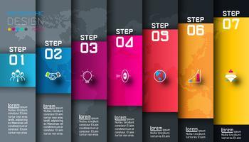 Zeven kleurrijke bars met zakelijke pictogram infographics
