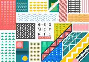 Bright geometric memphis style pattern element bundle