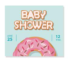 Baby shower card sweet donut glazed pink cream.
