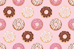 Seamless pattern with glazed donuts with pink colors