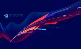 Tecnologia prospettica torcendo le linee sul blu scuro
