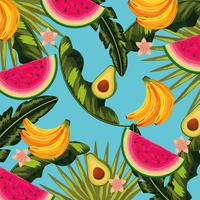 frutas deliciosas e padrão de plantas de folhas tropicais