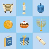 set of happy hanukkah decorations