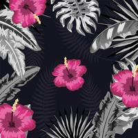tropical flowers with natural plants pattern