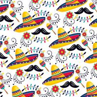 mexican hats with maracas and mustaches vector