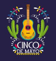 guitar with cactus plants for cinco de mayo vector
