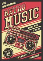 Retro Boombox Vintages Plakat