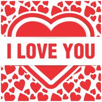 Large heart surrounded by smaller hears and I love you banner vector