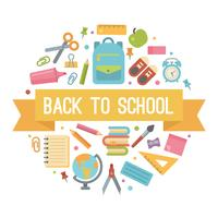 Back to school flat icons in a circle vector