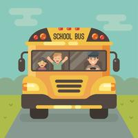 Front view of yellow school bus on the road with a driver and two children