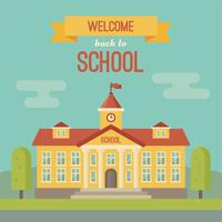 Schoolgebouw en banner met Welcome back to school