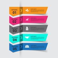 Processo di infografica moderno per 5 passaggi.