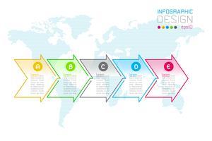 Flecha de negocios forma etiquetas barra de grupos de infografía