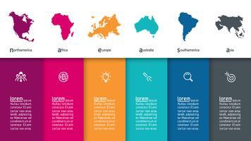 Continentale infographicsinformatie over vector grafische kunst.