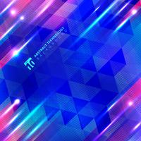 Blue geometric motion lines with lighting glow technology vector