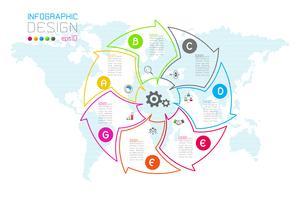 Zakelijke pijl etiketten vorm infographic groepen bar