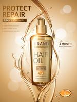Advertenties voor haaroliesjablonen