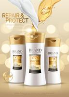 Shampoo-advertenties voor haarverzorgingsproducten