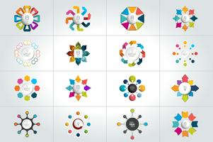 Mega set of 8 steps circle round  infographic templates