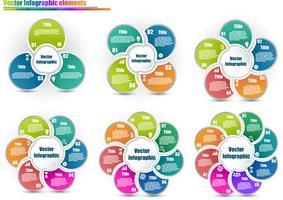 Conjunto de plantillas de infografía círculo del mismo estilo