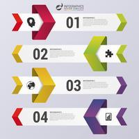 Plantilla de infografía diseño limpio número banners