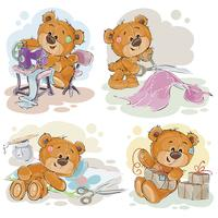Set of teddy bears making crafts